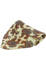 Soprano Cream Ground Large Paisley Pattern Pocket Square