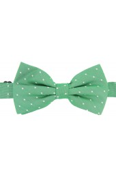 Soprano Cream Pin Dot Fashionable Woven Silk Bow Tie On Green Ground