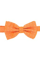 Soprano Cream Pin Dot Fashionable Woven Silk Bow Tie On Orange Ground