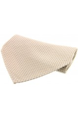 Soprano Cream Textured Box Weave Mens Silk Pocket Square