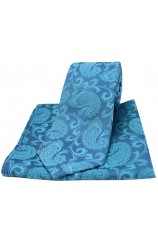 Soprano Cyan Woven Paisley Silk Tie and Pocket Square