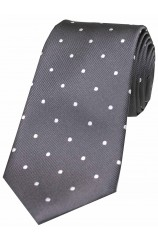 Soprano Dark Charcoal and White Polka Dot Silk Tie