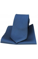 Soprano Denim Blue Diagonal Twill Woven Silk Tie and Pocket Square