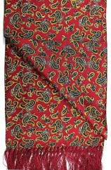 Soprano Edwardian Paisley On A Deep Red Ground Silk Aviator Scarf