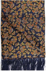 Soprano Edwardian Paisley On A Navy Ground Silk Aviator Scarf