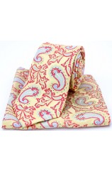 Soprano Edwardian Paisley on Gold and Red Silk Tie and Pocket Square