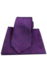 Soprano Edwardian Paisley on Tapestry Purple Ground Silk Tie and Pocket Square