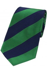 Soprano Emerald Green and Navy College Striped Silk Tie