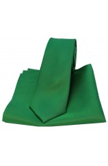 Soprano Emerald Green Matching Satin Silk Thin Tie and Pocket Square