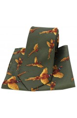Soprano Flying Pheasants Country Green Ground Country Silk Tie and Pocket Square