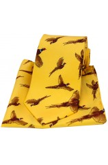 Soprano Flying Pheasants Gold Ground Country Silk Tie and Pocket Square