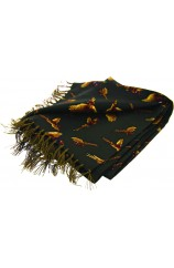 Soprano Flying Pheasants On A Moss Green Ground Silk Aviator Scarf