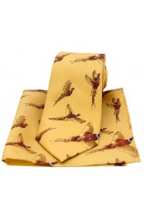Soprano Flying Pheasants On Mustard Ground Country Silk Tie and Pocket Square