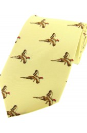 Soprano Flying Pheasants On Pastel Yellow Ground Country Silk Tie