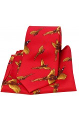 Soprano Flying Pheasants Red Ground Country Silk Tie and Pocket Square