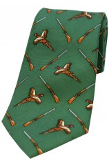 Soprano Forest Green Flying Pheasant and Shotgun Country Silk Tie