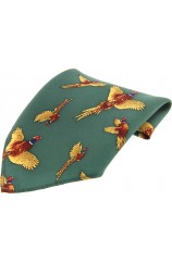 Soprano Forest Green Flying Pheasant Silk Pocket Square