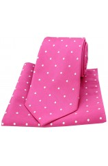 Soprano Fuchsia and White Polka Dot Silk Tie and Pocket Square