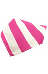 Soprano Fuchsia And White Striped Polyester Pocket Square