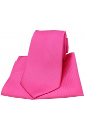 Soprano Fuchsia Diagonal Twill Woven Silk Tie and Pocket Square