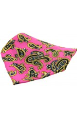 Soprano Fuchsia Ground With Large Paisley Design Silk Pocket Square