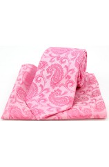 Soprano Fuchsia Paisley Silk Tie and Pocket Square