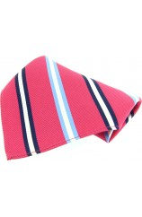 Soprano Fuchsia With Multi Coloured Striped Pocket Square