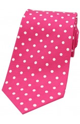 Soprano Fuchsia with White Polka Dots Mens Printed Silk Tie