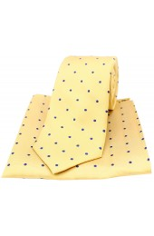 Soprano Gold and black Polka Dot Silk Tie and Pocket Square
