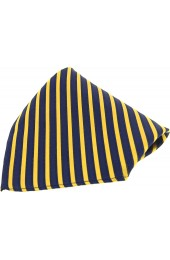 Soprano Gold and Navy Striped Mens Silk Pocket Square