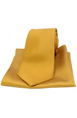 Soprano Gold Matching Satin Silk Tie and Pocket Square