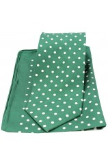 Soprano Green and White Polka Dot Matching Silk Tie and Pocket Square