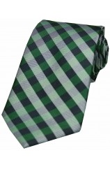 Soprano Green Checked Pattern Silk Tie