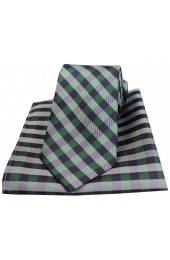 Soprano Green Checked Pattern Silk Tie and Pocket Square