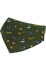Soprano Green Country Birds Silk Pocket Square