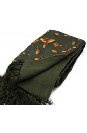 Soprano Green Flying Pheasants Silk with Wool backing Scarf