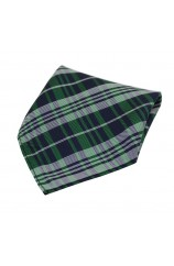 Soprano Green Tartan Pattern Silk Pocket Square