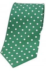 Soprano Green with White Polka Dots Mens Printed Silk Tie