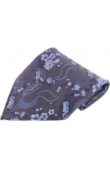 Soprano Grey Floral Patterned Mens Silk Pocket Square