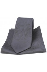 Soprano Grey Rose Wedding Matching Silk Tie and Pocket Square
