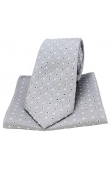 Soprano Grey Small Squares Silk Tie and Pocket Square