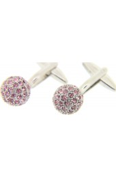 Soprano High Quality Pink Crystal Ball Cufflinks With Swivel Fitting