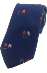 Soprano Jockey Colours On Blue Ground Country Silk Tie