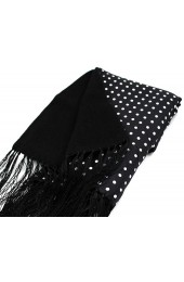 Soprano Lambs Wool and Printed Silk Polka Dot Scarf On Black Ground