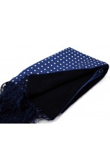 Soprano Lambs Wool and Printed Silk Polka Dot Scarf On Navy Ground