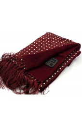 Soprano Lambs Wool and Printed Silk Polka Dot Scarf On Wine Ground