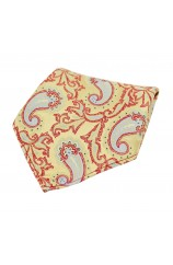 Soprano Large Edwardian Paisley on Gold and Red Ground Silk Pocket Square