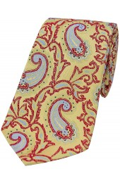 Soprano Large Edwardian Paisley on Gold and Red Ground Silk Tie
