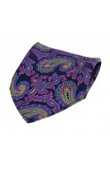 Soprano Large Edwardian Paisley on Navy and Pink Ground Silk Pocket Square