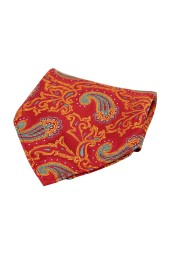 Soprano Large Edwardian Paisley on Red and Orange Ground Silk Pocket Square